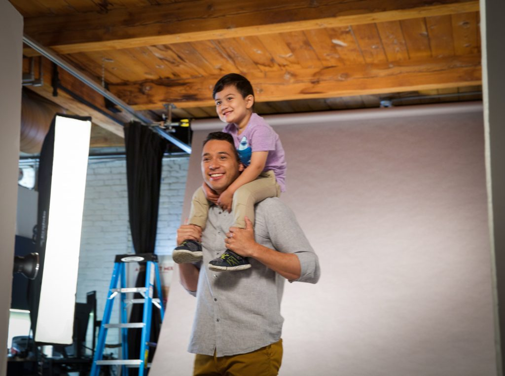 Model Club Model Eduardo with Child Model at Indresano Studios, Boston's top full service video and commercial photography studio